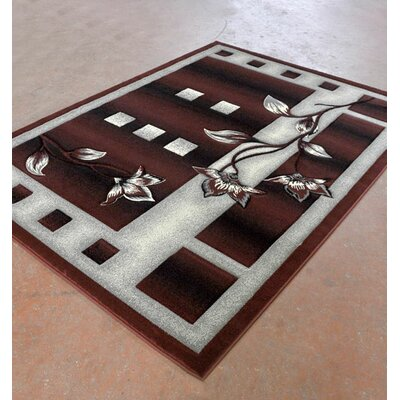 Burgundy/Black Area Rug Rug Size: 53 x 72