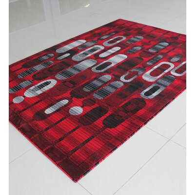Black/Red/Grey Area Rug Rug Size: 711 x 910
