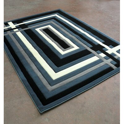 Blue/Black Area Rug Rug Size: Rectangle 53 x 72