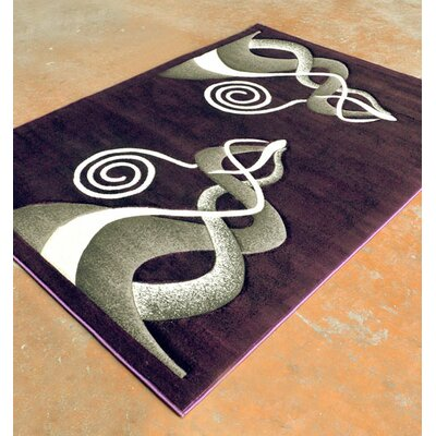 Purple/Black Area Rug Rug Size: 5'3