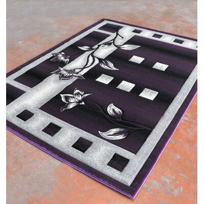 Purple/Black Area Rug Rug Size: 711 x 910