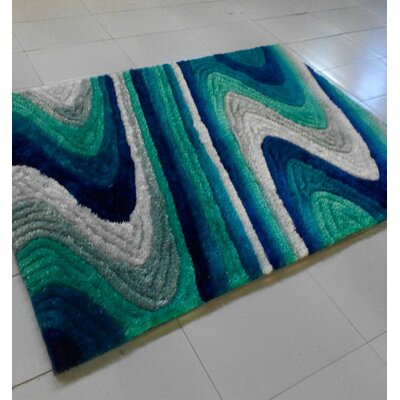 Blue/Green Area Rug Rug Size: 711 x 910