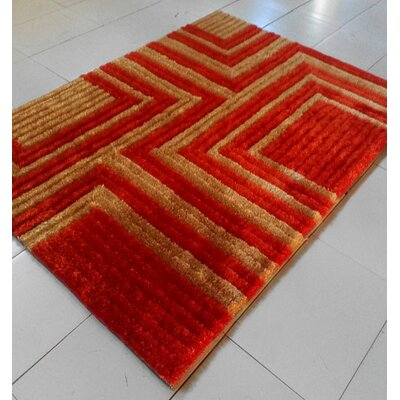 Orange Area Rug Rug Size: 53 x 72