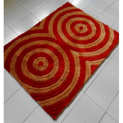 Orange/Red Area Rug Rug Size: 53 x 72