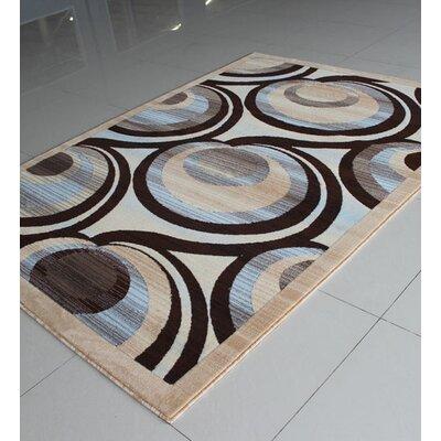 Ivory/Blue Area Rug Rug Size: 53 x 72