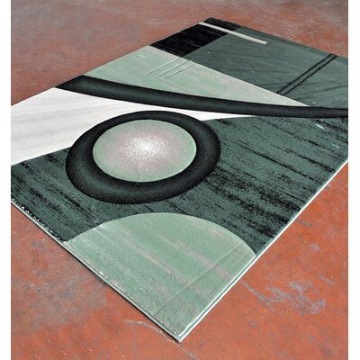 Light Green/Black Area Rug Rug Size: 53 x 72