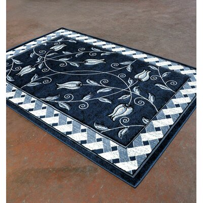 Light Blue/Black Area Rug Rug Size: Runner 2 x 72