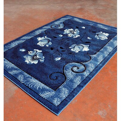 Light Blue/Black Area Rug Rug Size: 711 x 910
