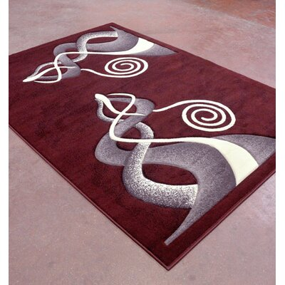 Burgundy/Black Area Rug Rug Size: 5'3