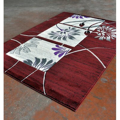 Burgundy/Black Area Rug Rug Size: 711 x 910