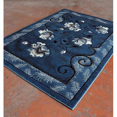 Blue/Black Area Rug Rug Size: 53 x 72