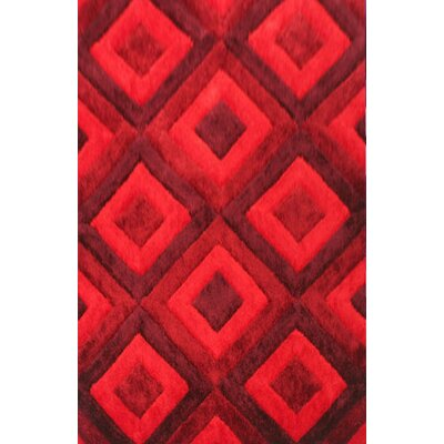 Blocker Red Area Rug Rug Size: 53 x 72