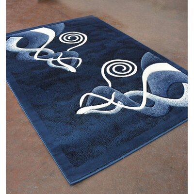 Light Blue/Black Area Rug Rug Size: 5'3
