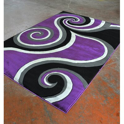 Purple/Black Area Rug Rug Size: Runner 2 x 72