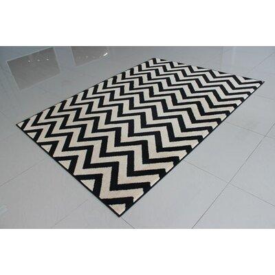 Black/Ivory Area Rug Rug Size: 53 x 72