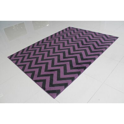 Black/Purple Area Rug Rug Size: 53 x 72