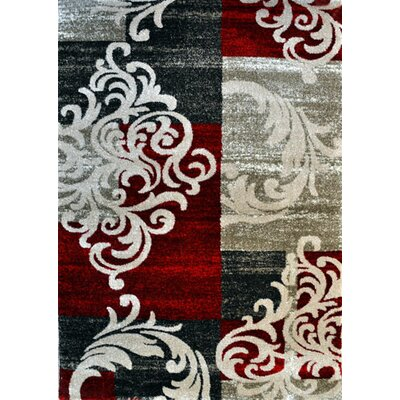 Patrice Red Area Rug Rug Size: 53 x 72