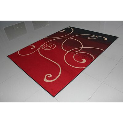 Black/Red Area Rug Rug Size: 4' x 6'