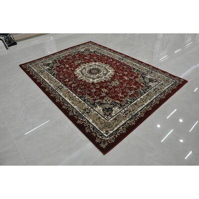 Red Area Rug Rug Size: Round 8 x 8