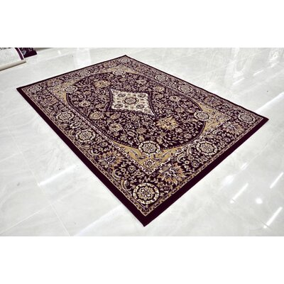 Burgundy Area Rug Rug Size: Rectangle 53 x 72