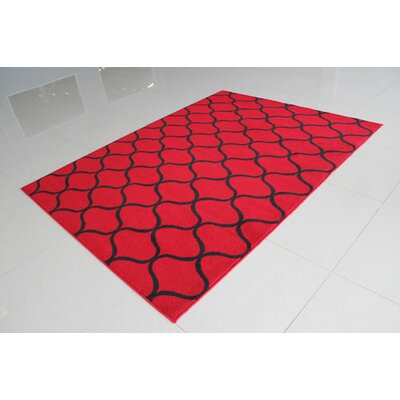 Red/Black Area Rug Rug Size: 711 x 910