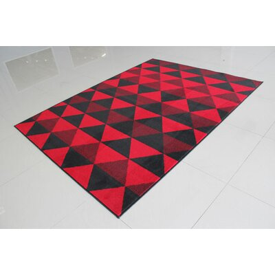Black/Red Area Rug Rug Size: 711 x 910