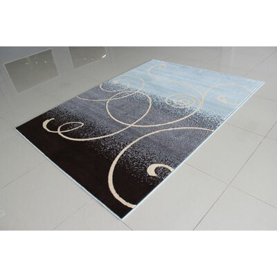 Blue/Dark Brown Area Rug Rug Size: 711 x 910
