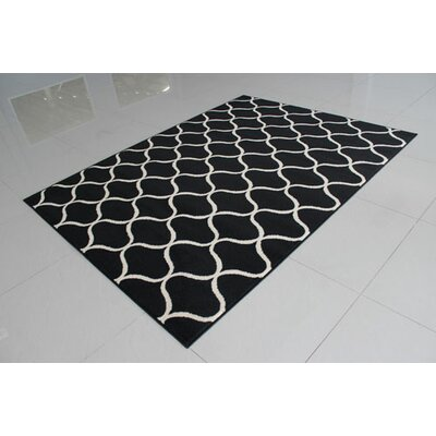 Black/Ivory Area Rug Rug Size: 711 x 910