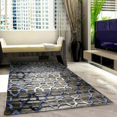 Grey/Blue Area Rug Rug Size: 53 x 72