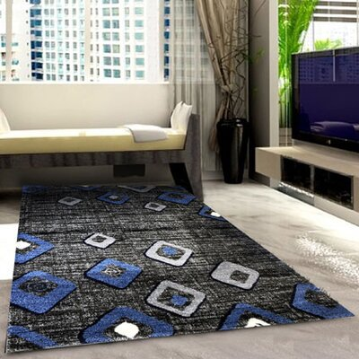 Grey/Blue Area Rug Rug Size: 711 x 910