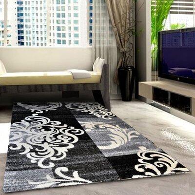 Grey/Black Area Rug Rug Size: 53 x 72