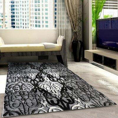 Grey/Black Area Rug Rug Size: 711 x 910