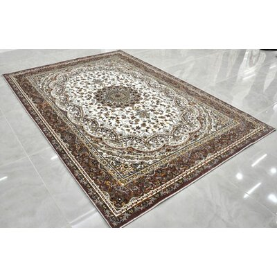 Beige/White Area Rug Rug Size: 53 x 72