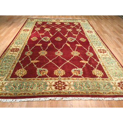 Hand-Knotted Red/Green Area Rug