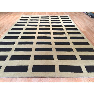 Nepal Hand-Knotted Black/Beige Area Rug