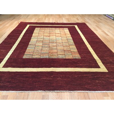 Falke Hand-Knotted Burgundy/Gold Area Rug