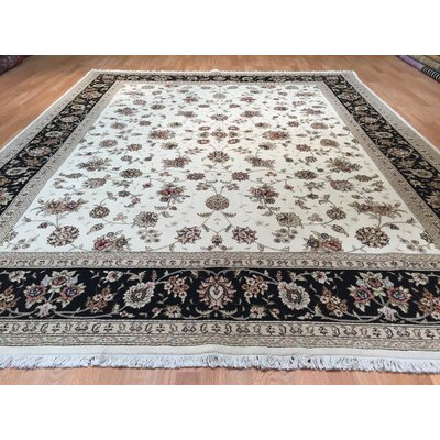 Tabriz Hand-Knotted Ivory/Black Area Rug
