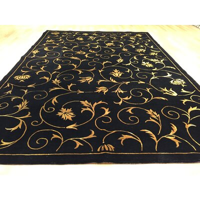 Jasmine Hand-Knotted Black/Gold Area Rug