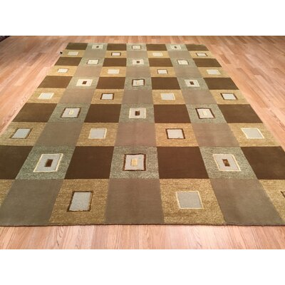 Nepal Hand-Knotted Green/Brown Area Rug
