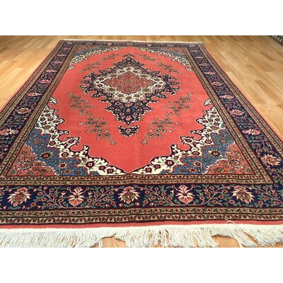 Tabriz Hand-Knotted Salmon/Navy Blue Area Rug