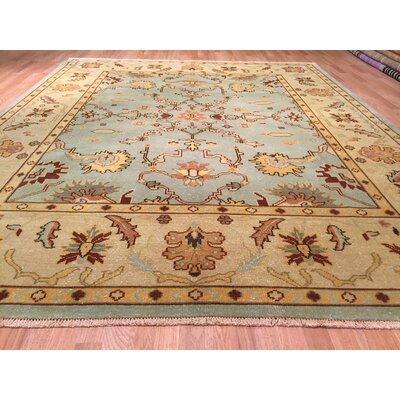 Oushak Hand-Knotted Light Blue/Beige Area Rug