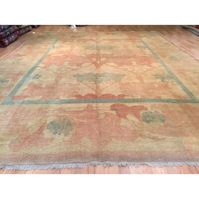 Oushak Hand-Knotted Beige Green Area Rug