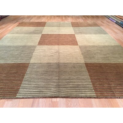 Gradient Solid Hand-Knotted Beige/Brown Area Rug