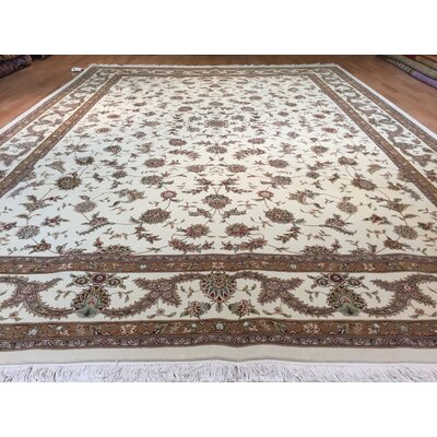 Drummaul Hand-Knotted Ivory/Brown Area Rug