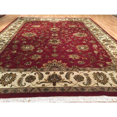 Drumsill Hand-Knotted Red/Green Area Rug
