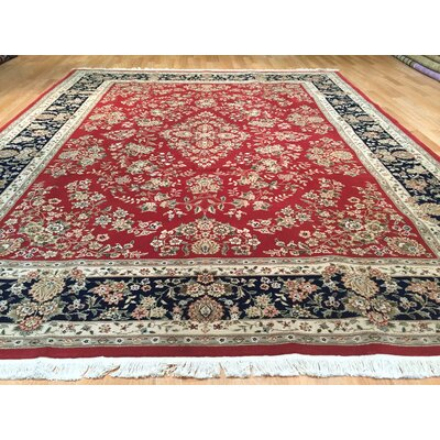 Drummaul Hand-Knotted Red/Black Area Rug