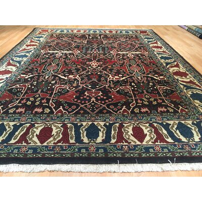 Mashad Hand-Knotted Black/Rust Area Rug