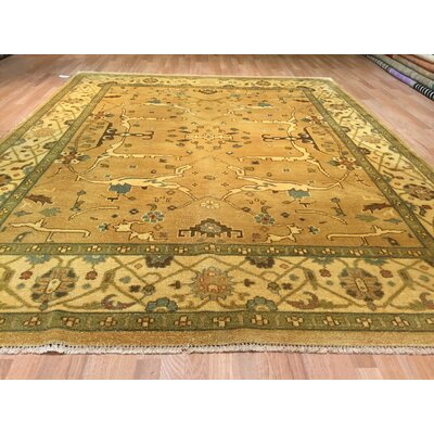 Oushak Hand-Knotted Gold/Green Area Rug
