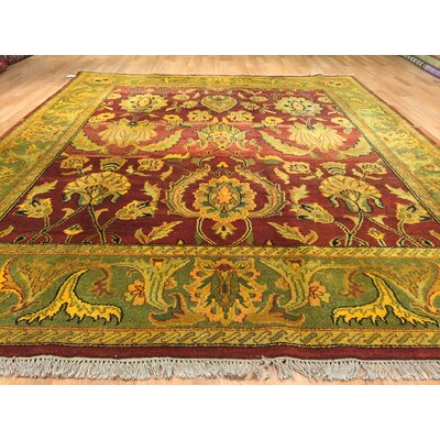 Indo Mashad Hand-Knotted Burgundy/Green Area Rug