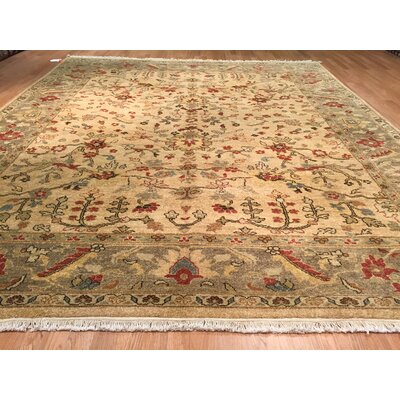 Ghandara Agra Hand-Knotted Beige Area Rug